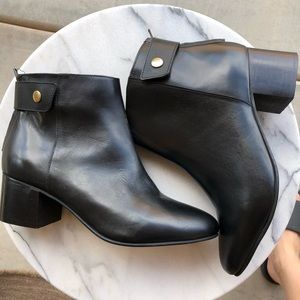 NWT Topshop Black Leather Booties, Size 8